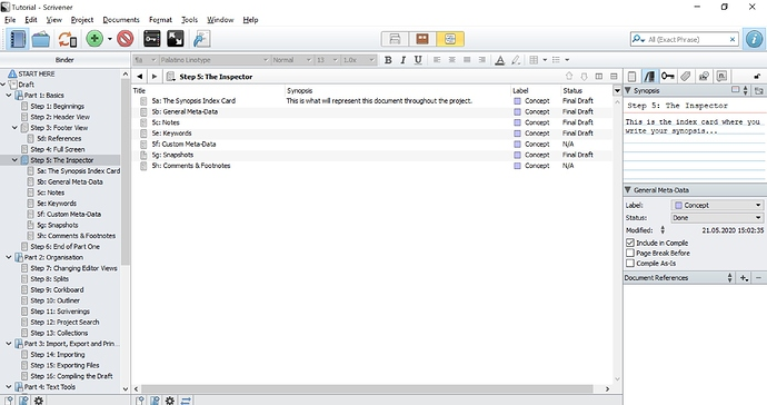4. Subdocuments are shown as a list with metadata