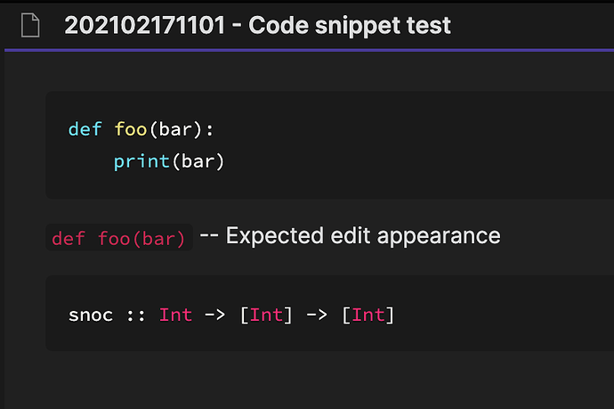 code snippet in preview mode