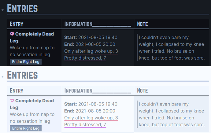 Setup-Journal - Conditions Log DV