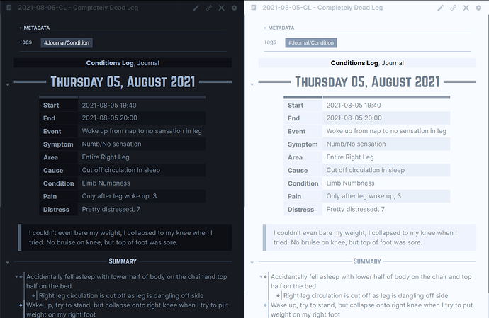 Setup-Journal - Condition Page