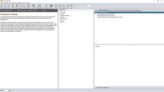 Layout of Zettelkasten 3 Software
